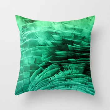 RUFFLED GREEN Throw Pillow by catspaws