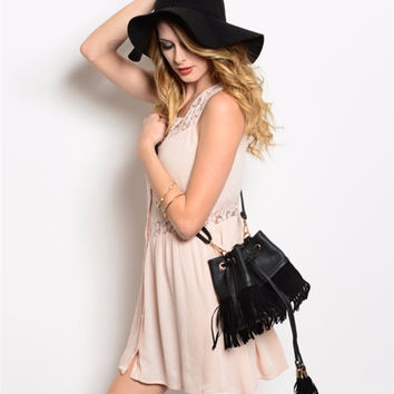 Black Leather over the Shoulder Purse with Suede Fringes
