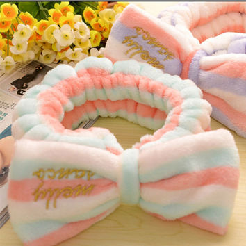 Elastic Flannel Hairband Women Stretch Headwrap Stripes Butterfly Hairlace Face-wash Helper Headband [9636503823]