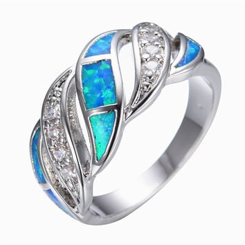 Blue Sapphire jewelry Crystal Opal Ring 14KT White Gold filled 925 sterling silver jewelry wedding rings for women&men RP0011 Alternative Measures