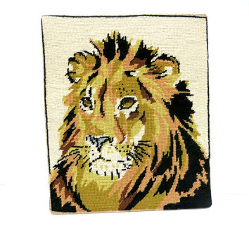 Finished Needlepoint Male Lion Canvass 1970s Animal Home Decor Vintage
