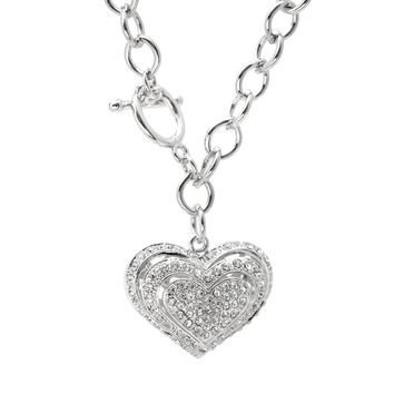 Silver Plated Crystal 3 Breathing Heart Toggle Necklace