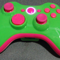 Custom New Xbox 360 Wireless Controller - Glossy Green & Pink
