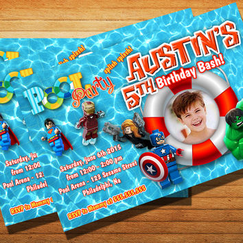 Lego Superhero Pool Party Birthday Party Invitation Kids