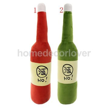 60cm No Alcohol Wine Bottle Shaped Pillow Plush Beer Soft Toy Creative Gift Home Decoration