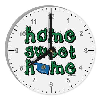 "Home Sweet Home - Oklahoma - Cactus and State Flag 8"" Round Wall Clock with Numbers by TooLoud"