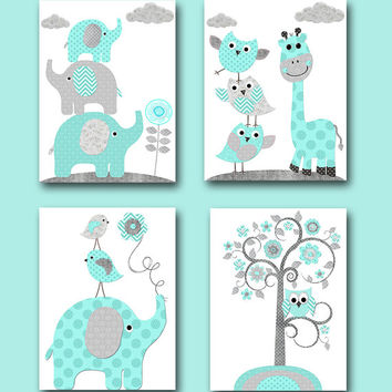 Kids Art Kids Wall Art Childrens Art Print Baby Boy Nursery Wall Decor Giraffe Wall Decor Elephant Wall Decor set of 4 Gray Blue