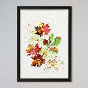 Autumn Poster Leaves Watercolor Lonely Leaves Fall Print Autumn Leaves Picture Painting