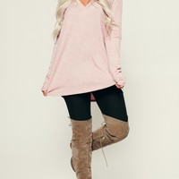 Bubble Gum Girl V-Neck Top (Light Mauve)