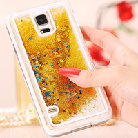 S5 Ultra Thin Transparent  Crystal Clear Back Cover For Samsung Galaxy S5 i9600 SV Dynamic Liquid Glitter Sand Bling Stars Case