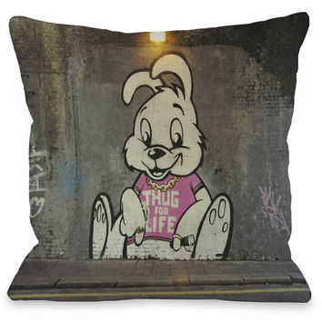 """Thug For Life Bunny Graffiti"" Indoor Throw Pillow by Banksy, 16""x16"""
