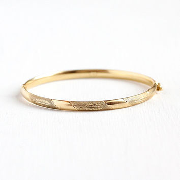 Vintage Engraved Bangle 14k Solid Rosy Yellow Gold Estate Flower Bracelet Jewelry 1990s Etched