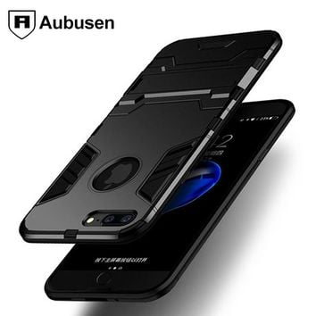 For IPhone 7 8 plus case Aubusen Hybrid Armor Rugged Carbon Fiber Brushed TPU Cover For IPhone 8 7 plus