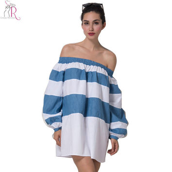 White and Blue Color Block Stripes Off the Shoulder Long Puff Sleeve Shift Loose Mini Dress Casual Spring Summer Women Wear