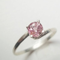Pink Tourmaline Ring, Handforged Sterling Silver Ring, Hammered Silver,  Engagement, Pink Gemstone Solitaire Ring