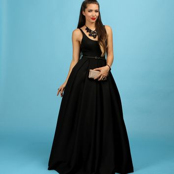 Promo-camille- Black Scuba Formal Dress