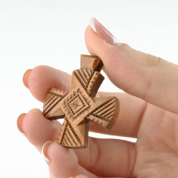 Small handmade wooden cross pendant necklace made of pear wood unique gift