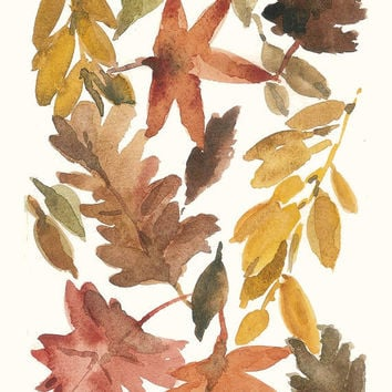 All the leaves are Brown 16X11 Archival Print of Original  water color painting Indian summer limited edition
