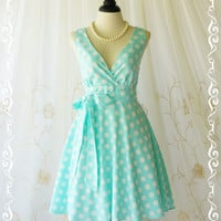My Lady II Spring Summer Sundress Mint Blue Dress Polka Dot Sundress Party Tea Dress Mint Blue Bridesmaid Dresses Blue Summer Dress XS-XL