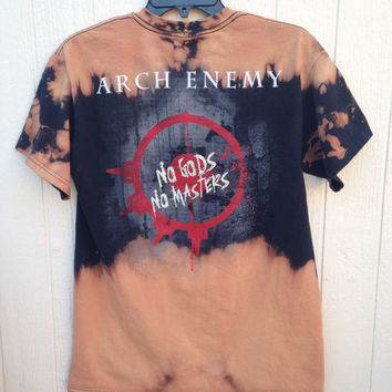 Bleached unisex Arch Enemy death metal band shirt, grunge concert wear