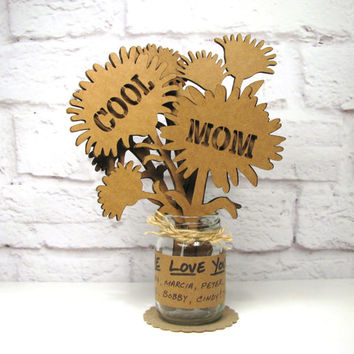 Gifts for Mom COOL MOM - Mothers Day Birthday Corrugated Cardboard Flowers Bouquet In Mini Mason Jar