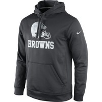 Mens Cleveland Browns Nike Anthracite KO Platinum Performance Pullover Hoodie