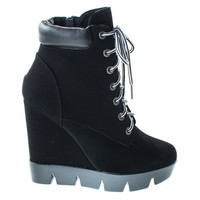 Invent08 Black Pu Women Combat Work Bootie High Platform Wedge, Lace Up Lug Threaded Sole