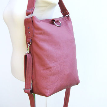 Pink Leather tote bag, 3 way fold over Bag, Crossbody bag - Ready To Ship