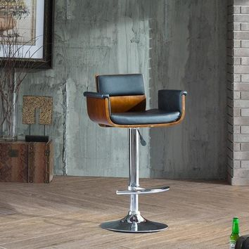 Corvus Tony Mid-century Black and Walnut Adjustable Swivel Bar Stool