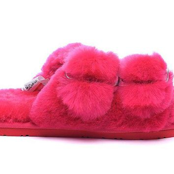 LFMON UGG 4088 Double Breasted Open Toe Slipper Women Men Fashion Casual Wool Winter Snow Boots Roseo