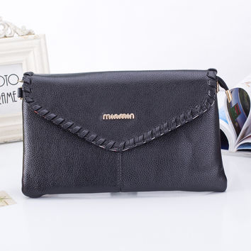 Fashion Women's Wallet Woven Crossbody Bags  High Quality Pu Casual Envelope Leather Card Holder Handbags
