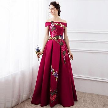 High Quality Prom Dresses Fashion Summer Satin With Big Flowers A-line Prom Dress Boat Neck Prom Dresses 2017 Vestido De Festa