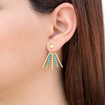 Pair of turquoise earring jackets, bohemian jewelry, geometric statement, gift for women, wife, girlfriend,ear jacket earrings,boho earrings