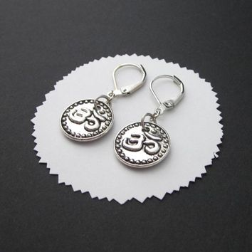 Om Earrings Round Coin Antiqued Silver Raised Double Sided Leverbacks