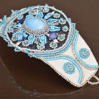 Handmade designer leather wrist bracelet embroidered with beads and moonstone
