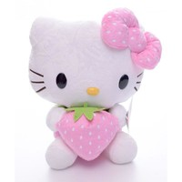 Hot Selling Adorable Plush Pink bowknot Dress Sit Hello Kitty Plush Doll Toy with Strawberry Hello Kitty 7'' Brand New  #LNF