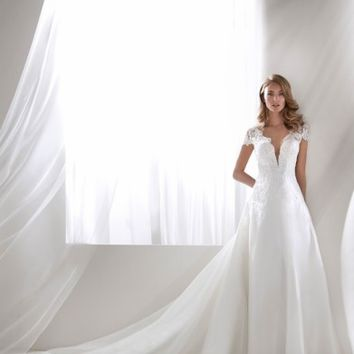 Atelier Pronovias Rivera Plunging Lace Bodice Ballgown (In Selected Stores Only) | Nordstrom