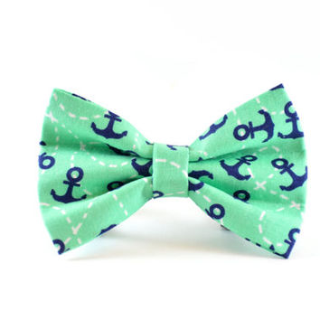 Teal Anchors Dog Bow Tie - Turquoise Mint Aqua Blue Green Seafoam Nautical Navy Anchor Dog and Cat Bow Tie