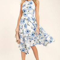 Zahara Blue and White Floral Print Midi Dress