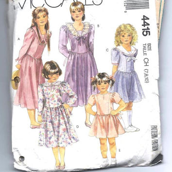 Vintage Girl's Princess Dress Pattern: Size 8, Bust 27, McCall's Sewing Pattern 4415
