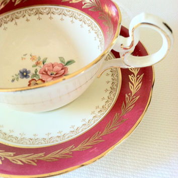Vintage Aynsley Tea Cup and Saucer/Christmas Tea Party/Fine Bone China