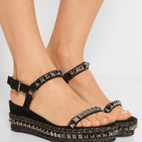 Christian Louboutin - Cataclou 60 embellished suede and leather wedge sandals
