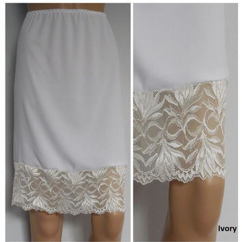 Cream/ivory skirt extender with Lace, dress extender slip, lace slip extender, Lace extender