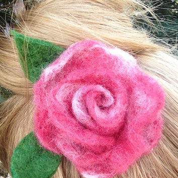 Hair Clip, Felt Flower Clip, Handmade Hair Piece, Mother's Day Gift, Home Decor: HANDMADE FIBER ART