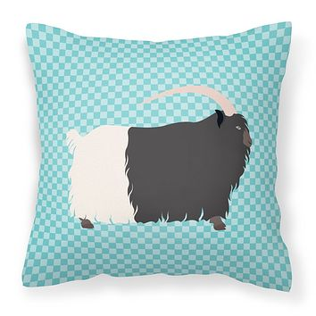 Welsh Black-Necked Goat Blue Check Fabric Decorative Pillow BB8061PW1818