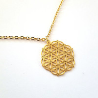 Flower of Life Necklace, Silver or gold, Mandala, Jewelry, Meditation, gift, yoga, fashion, accessory, sacred geometry
