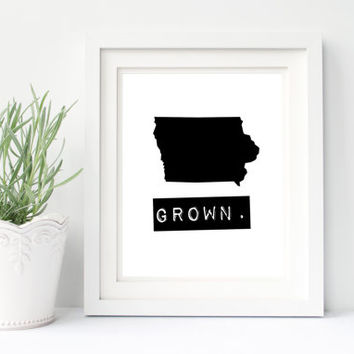 Iowa Grown Home State Printable Digital Download, custom map, personalized map, hometown print, typewriter, stamp, typography wall art decor