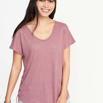 Relaxed Side-Tie Linen-Blend Top for Women |old-navy