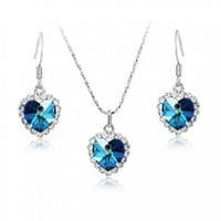 Mother's Day Gifts Fashion Plaza Cubic Zirconia Crystal Heart of the Ocean Titanic Necklace and Earrings 3-piece Jewelry Set S19