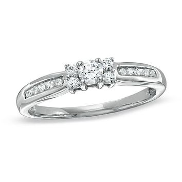 1/4 CT. T.W. Diamond Channel Engagement Ring in 14K White Gold Plated Sterling Silver